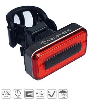 Hátsó lámpa USB Velotech PRO Brick 120 lumen