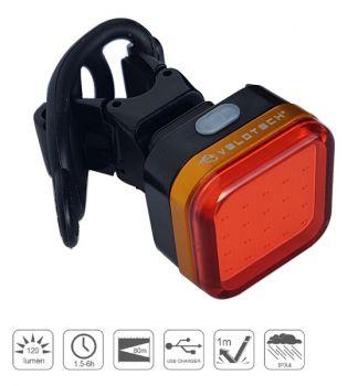 Hátsó lámpa USB Velotech PRO Quad 120 lumen