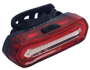 Hátsó lámpa féklámpa funkcióval USB Velotech 16 LED