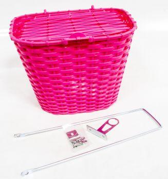 Kosár első fedeles műanyag, pink
