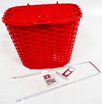 Kosár első fedeles műanyag, piros