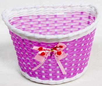 Kosár gyerekbiciklire műanyag masnis, pink