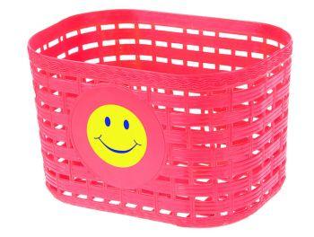 Kosár gyerekbiciklire mosolygós, piros