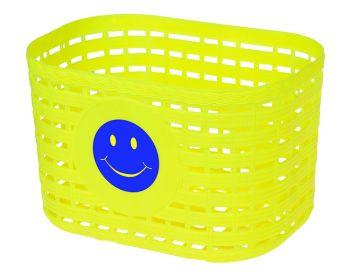 Kosár gyerekbiciklire mosolygós, sárga