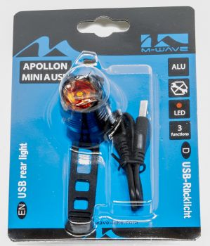 Hátsó lámpa, villogó Apollon mini USB, 1 LED M-Wave
