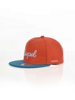 Baseball sapka Dorko Csepel feliratos, narancs-kék