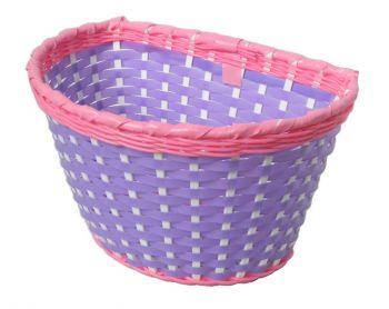 Kosár első gyerekbiciklire műanyag lila-pink