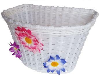 Kosár első gyerekbiciklire fehér virágos 16