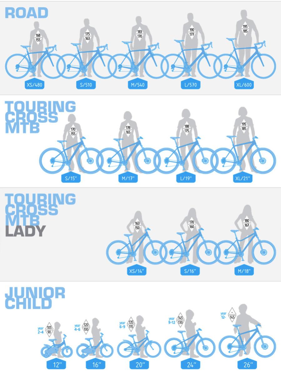 Dema kerékpár mérettáblázat